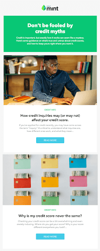 Email Campaign Examples - Mint | EmailOut.com