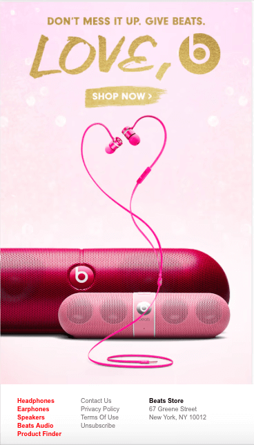 Valentine's Day Email Campaigns | Beats by Dr. Dre | EmailOut.com - free email marketing software