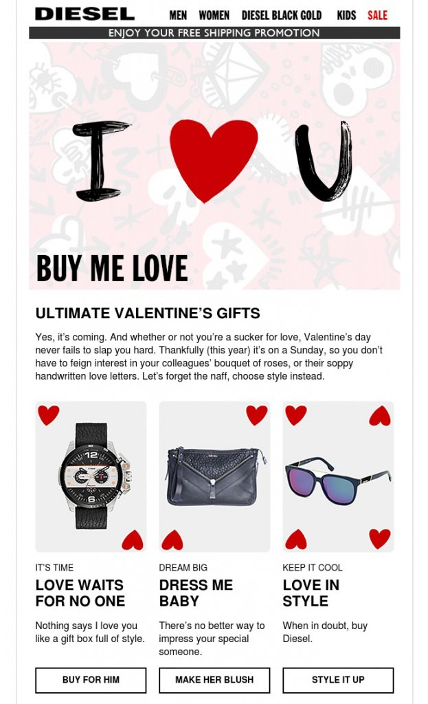 Valentine's Day Email Campaigns | Diesel | EmailOut.com - free email marketing software