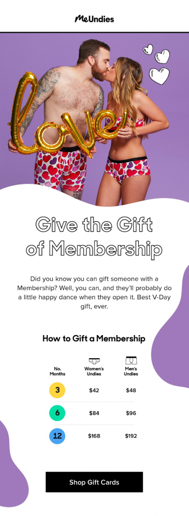 Valentine's Day Email Campaigns | MeUndies | EmailOut.com - free email marketing software